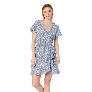 J Crew Mercantile Dress Blue Floral Faux Wrap